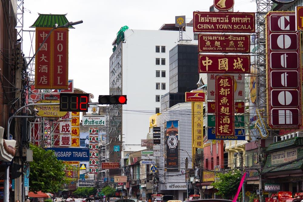 Schilderchaos in Chinatown, Bangkok