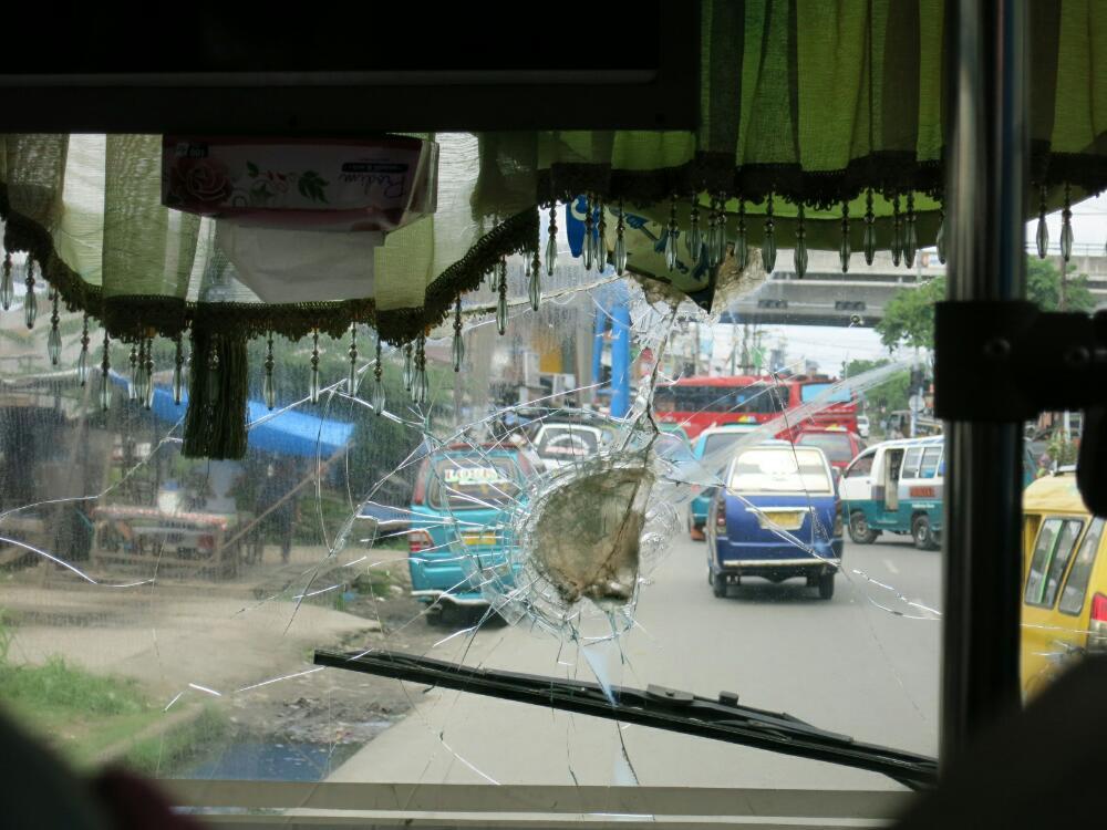 Busfahrt - kaputte Scheibe