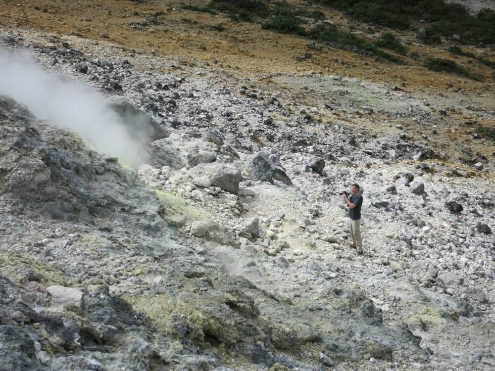 Gunung Sibayak - Jürgen bei der Arbeit
