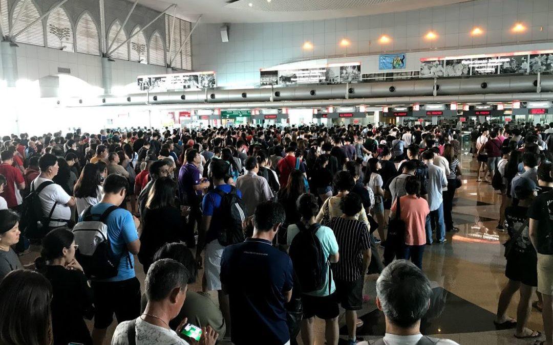 Zu Fuß über die Grenze von Singapur nach Malaysia