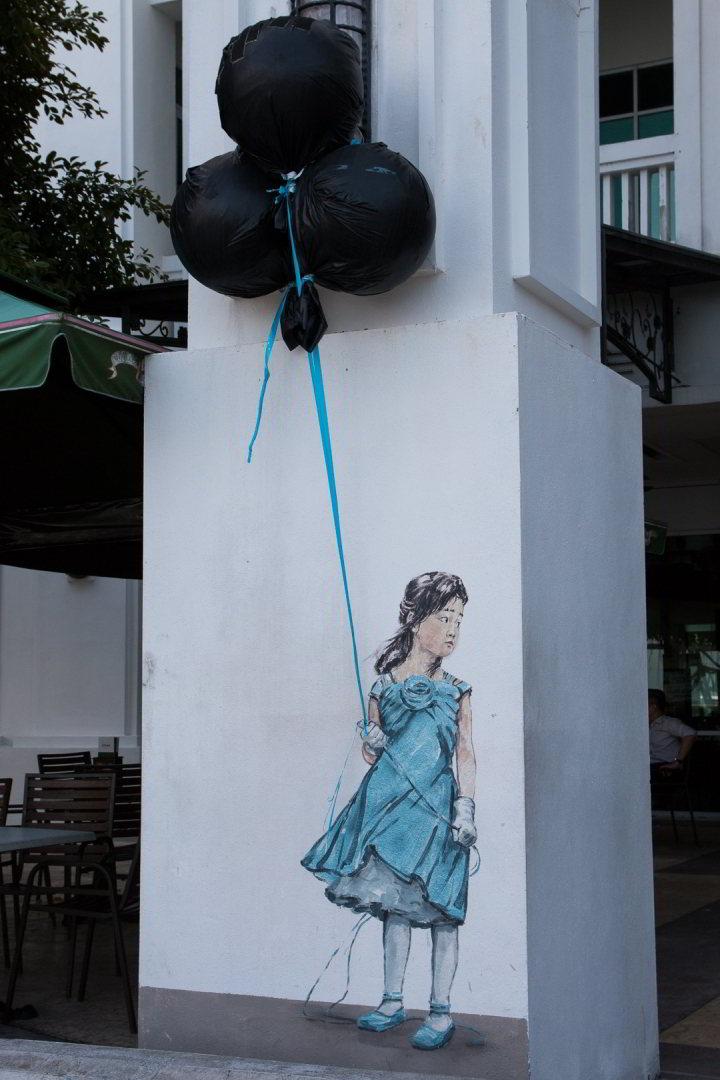 Street Art, Quayside Seafront Condos, Penang, Malaysia