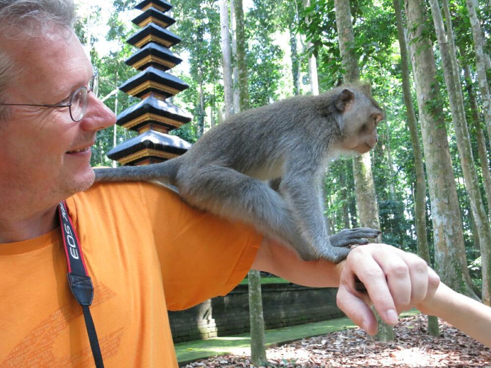 Sangeh - Jürgen mit Affe