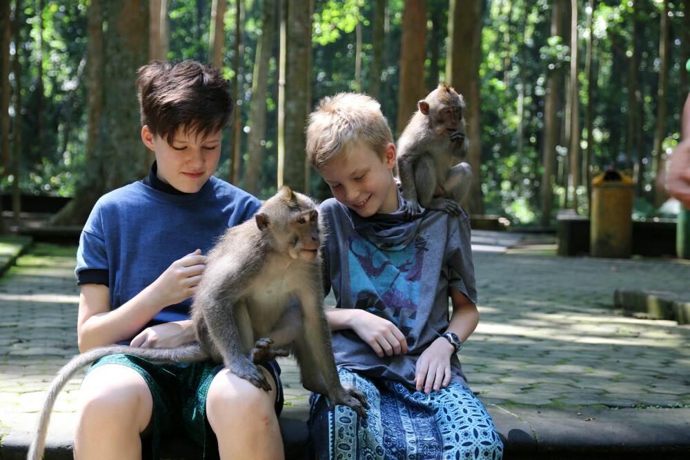 Sangeh - Kiara und Mattis mit Affen